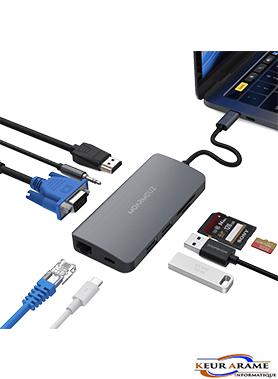HUB M15 - 9 in 1 USB - C Multiport Adapter -Keur Arame Informatique - Leader dans la distribution d'appareils électronique au Sénégal