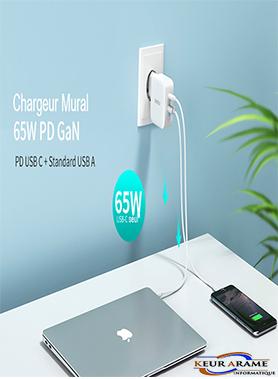 PD 65W GaN Charger - PD-8002 EU-- Keur Arame Informatique - Leader dans la distribution d'appareils électronique au Sénégal